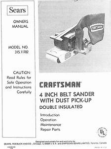 Craftsman 31511782 User Manual 4 Inch Belt Sander Manuals