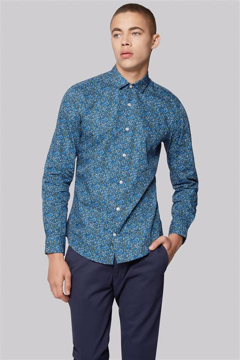 moss london extra slim fit green abstract print casual shirt