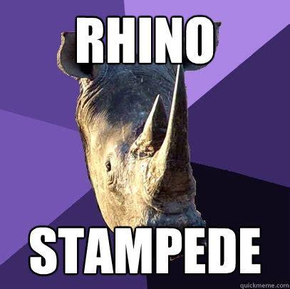 Rhino Memes - rhino stampede sexually oblivious rhino quickmeme