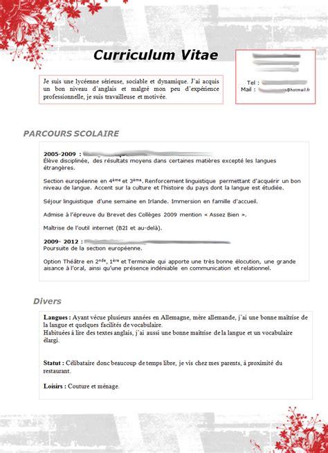 Les Modèles De Cv by Resume Format Lettre Accus 233 R 233 Ception Cv