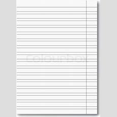 Vector Realistic Elementary School Copybook Worksheet With Shadow And Red Margin, Handwriting
