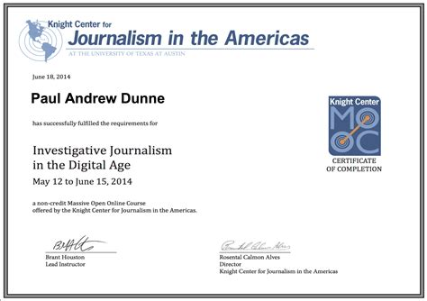 Certificate Courses by Investigative Journalism Course Certificate