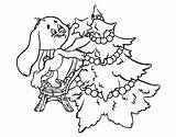Christmas Tree Coloring Decorating Rabbit Colorear Coloringcrew sketch template