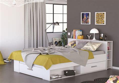 chambre a coucher adulte pas cher lit en bois avec tiroir 140x190 blanc perle