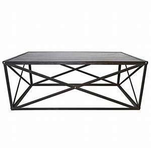 Crispin industrial style metal stone coffee table kathy for Stone and metal coffee table