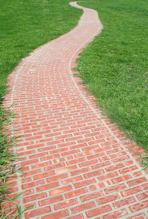 curved red brick walkway stock photo image