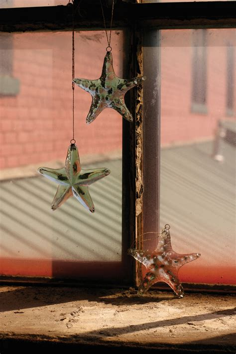 recycled hanging glass starfish starfish suncatcher