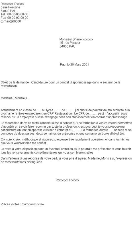 lettre de motivation pour cap cuisine 6 lettre de motivation apprentissage cuisine format lettre