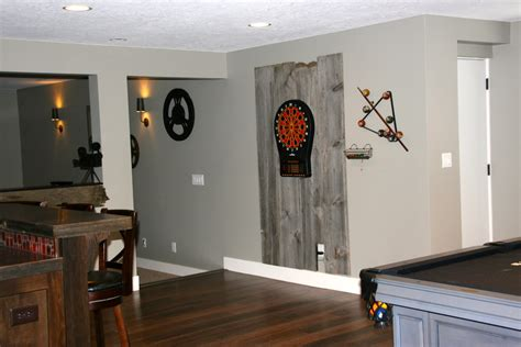 bright dart board cabinet  basement traditional