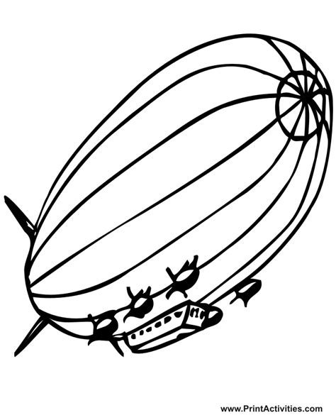Kleurplaat Zeppelin by Blimp Coloring Page Realictic Blimp Drawing