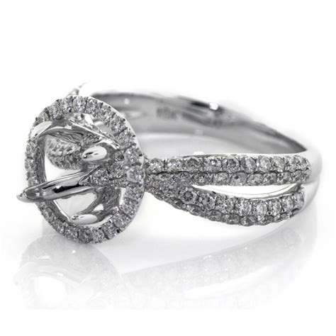 Diamond Micro Pave Halo With Split Shank Setting,cheap. Flower Pattern Engagement Rings. Mystical Engagement Rings. One Big Wedding Rings. 1ct Diamond Rings
