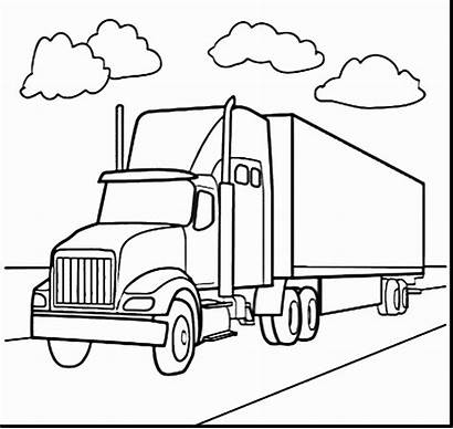 Semi Coloring Truck Pages Trailer Colouring Drawing