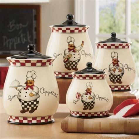 canisters kitchen decor bon appetit chef 4 canister set from through the