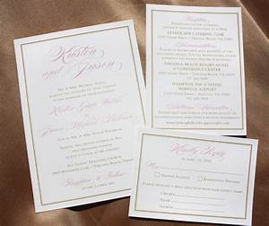 blush pink large script names gold border formal weddi With wedding invitations virginia beach
