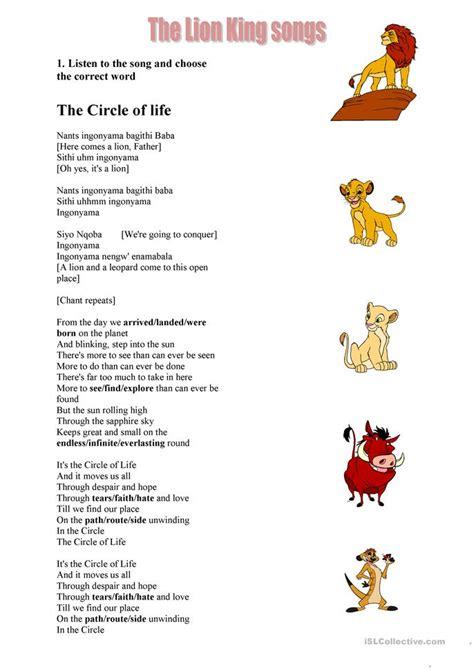 lion king songs worksheet  esl printable