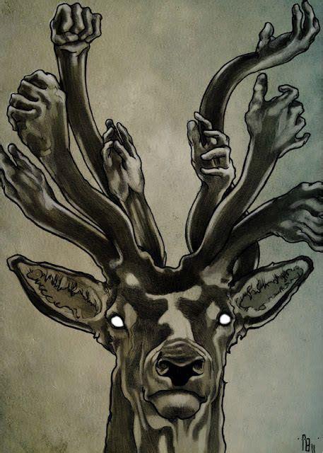 deer wears  crown  human hands   antlers