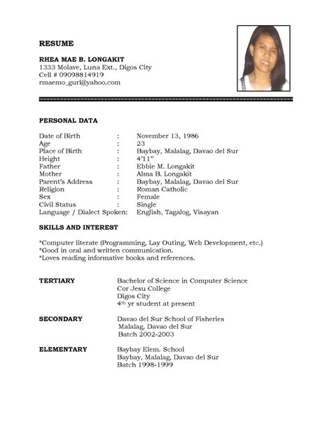 Tagalog Resume Format by Exles Of Resumes 7 Simple Resume Format