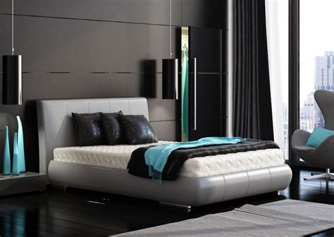 It was designed by missy woolf (the talent behind. black bedroom turquoise accents | Interior Design Ideas