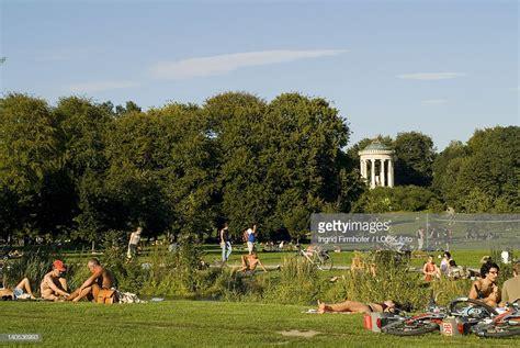 englischer garten munich naturist sunbathing at eisbach in front of monopteros