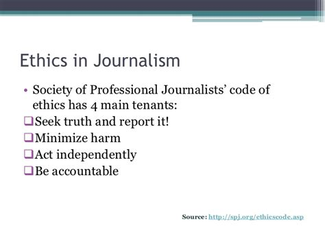 Journalism Code Of Ethics by Introduction To Media Ethics