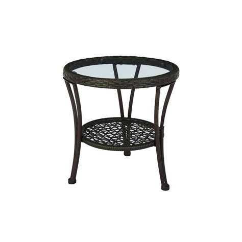hton bay arthur all weather wicker patio side table