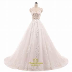 sleeveless illusion bodice lace embellished wedding dress With illusion bodice wedding dress