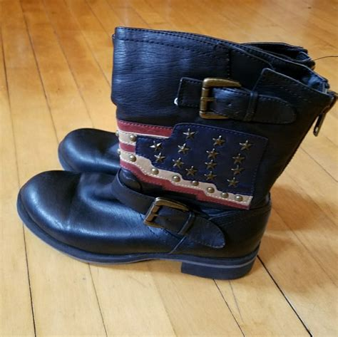 american motorcycle boots 51 off mia shoes mia 39 soliderr 39 american flag