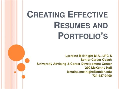 Create An Effective Resume by Creating Effective Resumes And Portfolio S