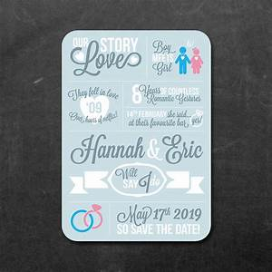 love story save the date card or fridge magnet by feel With fridge magnet wedding invitations uk