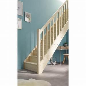 Escalier Droit Bois : escalier droit deva structure bois marche bois leroy merlin ~ Premium-room.com Idées de Décoration