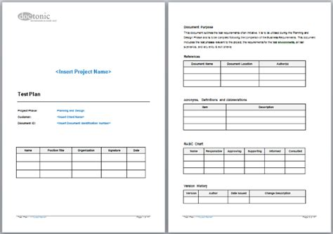 Test Template Test Plan Template Project Documentation