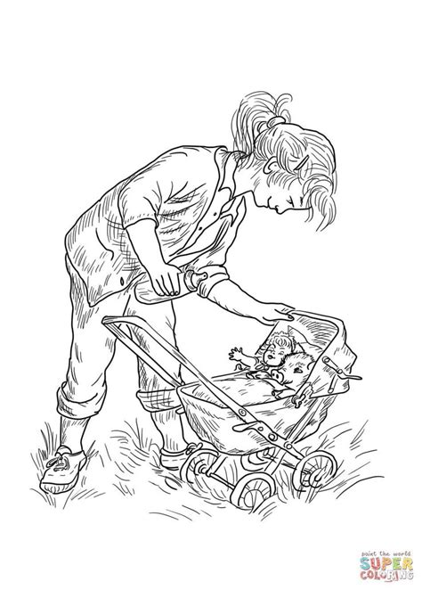 fern pushes wilber   baby stroller baby coloring