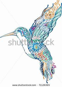 hummingbird drawing heart | Tribal Hummingbird And ...