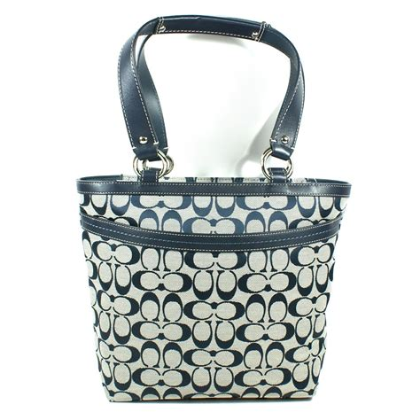 coach penelope signature lunch tote bag navy  coach