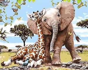 Giraffe Elephant family animals oil painting Room Decor