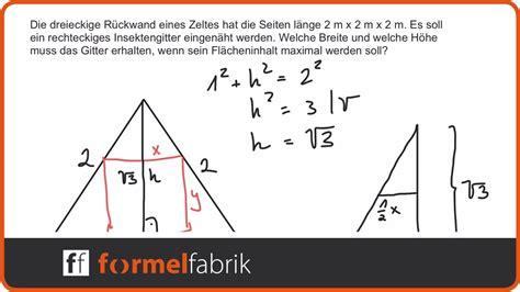 extremwertaufgabe rechteck im gleichseitigen dreieck
