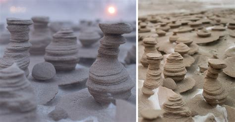 frozen sand towers carved  strong winds   shores