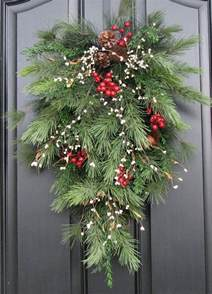 holiday swag wreath christmas pine berries and pinecones swag for