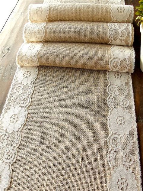 burlap table runner with lace natural burlap table runner wedding table runner with