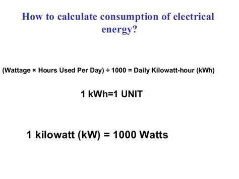calculate electricity cost from watts power consumption of household equipments in india