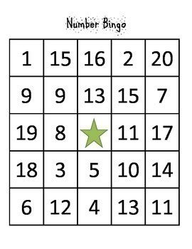 number bingo 1 20 by coffee and a laptop teachers pay teachers