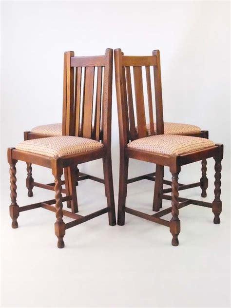 set  vintage oak dining chairs circa