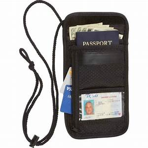 travel security passport id holder w neck strap With mens passport and document holder