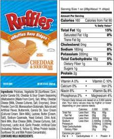 Ruffles Cheddar and Sour Cream Chips Nutrition