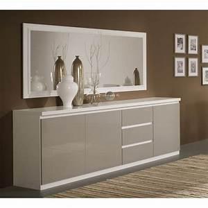 Buffet Gris Laqué : buffet bahut design 3 portes 3 tiroirs laqu gris blanc jewel matelpro ~ Teatrodelosmanantiales.com Idées de Décoration