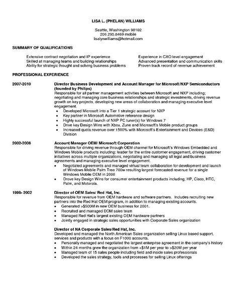 sle resume business development executive free