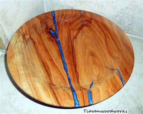 pecan wood bowl  electric blue epoxy resin inlay