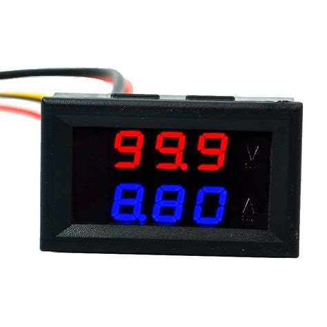 0 28 quot digital blue led dual display voltmeter ammeter voltage current indicator monitor
