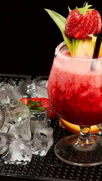 Shaker Mango Ice Pineapple Cocktails Strawberries Orange