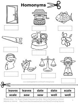 free homonyms cut and paste worksheet by promoting success